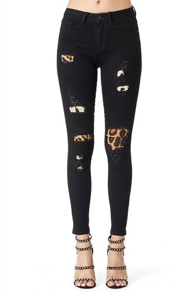 Solid Ripped Leopard Print Patch Distressed Cutout Skinny Jeans-Black