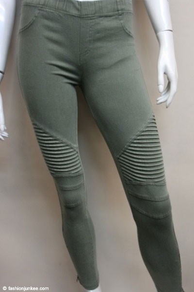 Motorcycle Zipper Stretch Jeggings-Olive