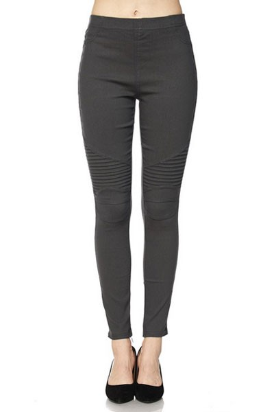 Moto Stretch Jeggings Pants-Grey