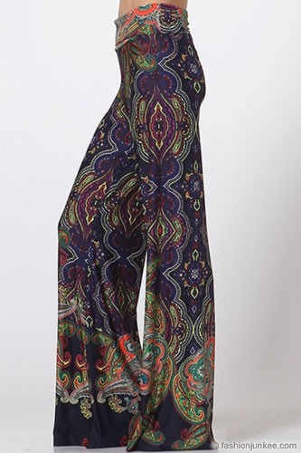PLUS SIZE Foldover Waist Paisley Print Palazzo Long Gaucho Pants with Wide Legs-Navy Blue