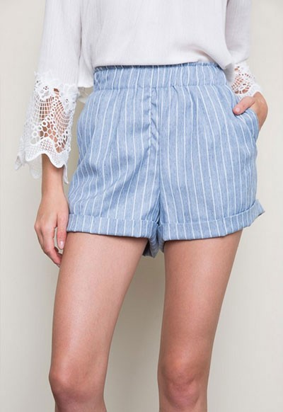 :As Seen In PEOPLE STYLEWATCH Magazine: Pin Stripe Shorts with Pockets-Light Denim Blue