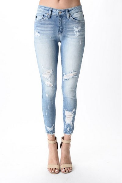Raw Hem Distressed Ripped Stretch Jeans-Blue