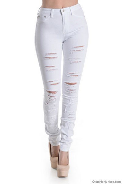Stretch Mid-Rise Ripped Distressed Destroyed Skinny Jeans-White