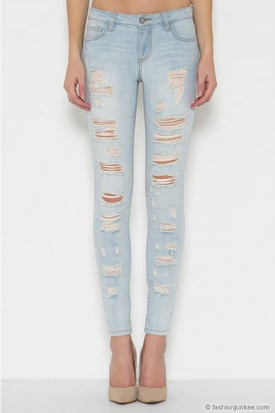 PLUS SIZE Stretch Ripped Distressed Destroyed Skinny Jeans-Light Blue Wash