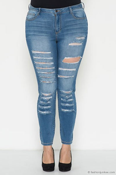 PLUS SIZE Stretch Ripped Distressed Destroyed Skinny Jeans-Medium Blue Wash