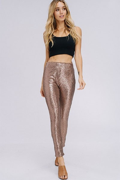 FLASH DEAL! ENDS SOON - Metallic Sequin Leggings Pants-Gold