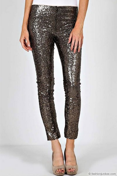 HOLIDAY FLASH DEAL! ENDS SOON - Metallic Sequin Leggings Pants-Gold & Black