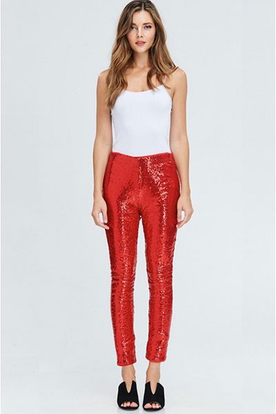 HOLIDAY FLASH DEAL! ENDS SOON - Metallic Sequin Leggings Pants-Red