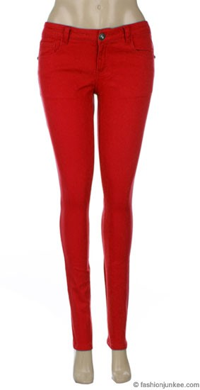 Moleton Stretch Sexy Colored Skinny Denim Jeans Jeggings-Red