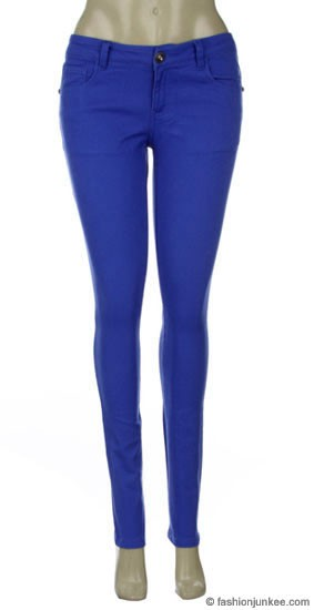 Thick Stretch Sexy Colored Skinny Denim Jeans-Royal Blue