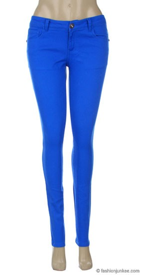 Thick Stretch Sexy Colored Skinny Denim Jeans-Turquoise Blue