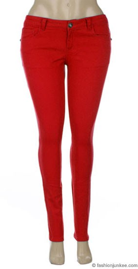 Plus Size Moleton Stretch Sexy Colored Skinny Denim Jeans Jeggings-Red