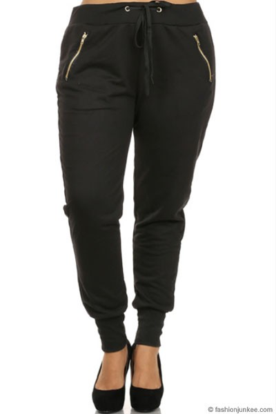 PLUS SIZE Solid Cotton Jogger Pants-Black