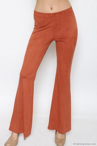 :As Seen In PEOPLE STYLEWATCH Magazine: Faux Suede Flared Wide Leg Pants-Rust
