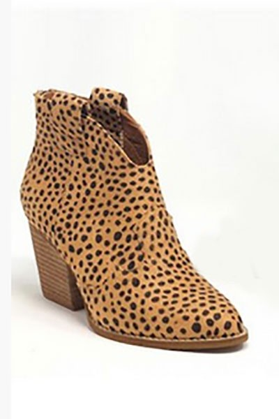 Faux Suede Western Ankle Cowboy Booties-Cheetah Leopard Print