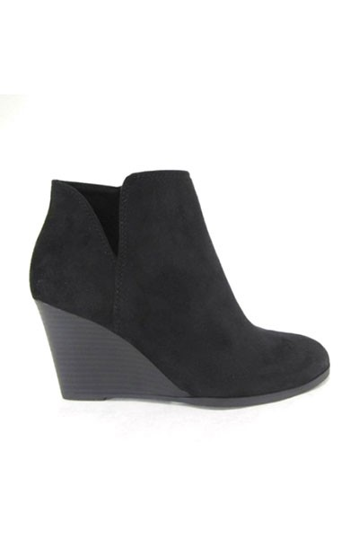 Closed Toe V Cutout Notched Wedge Booties-Black