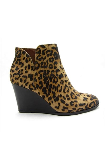 Closed Toe V Cutout Notched Wedge Booties-Leopard Print