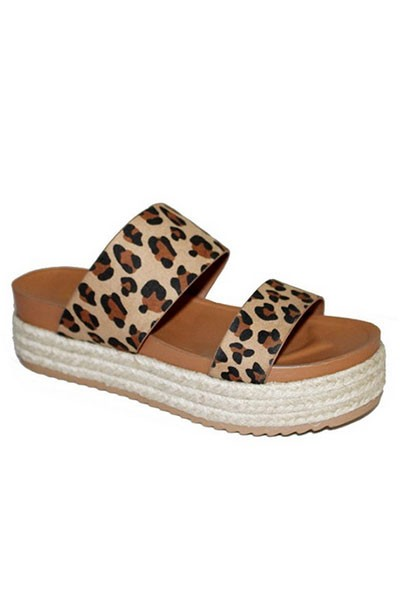 Two Strap Low Flat Espadrille Wedge Sandals-Leopard Print