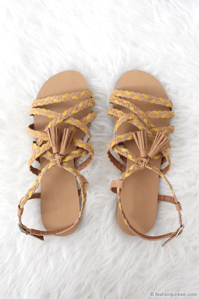 Boho Braided Tassel Flat Festival Sandals-Yellow & Brown