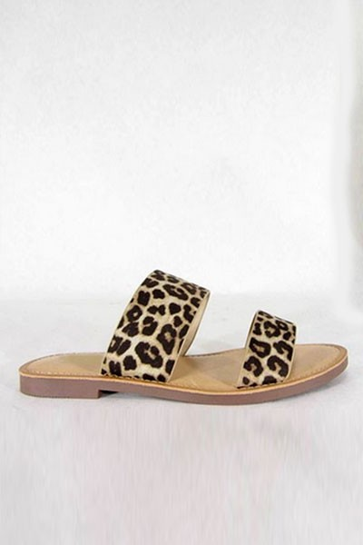 Animal Print Two Strap Band Sandals-Cheetah Leopard Print