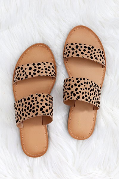 Animal Print Two Strap Band Sandals-Leopard Print