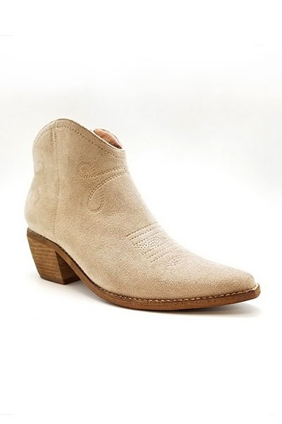 Faux Suede Cowboy Boots Western Ankle Booties-Taupe