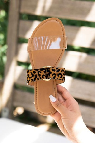 Clear Animal Print Mixed Strap Double Band Sandals Slides-Clear & Leopard Print