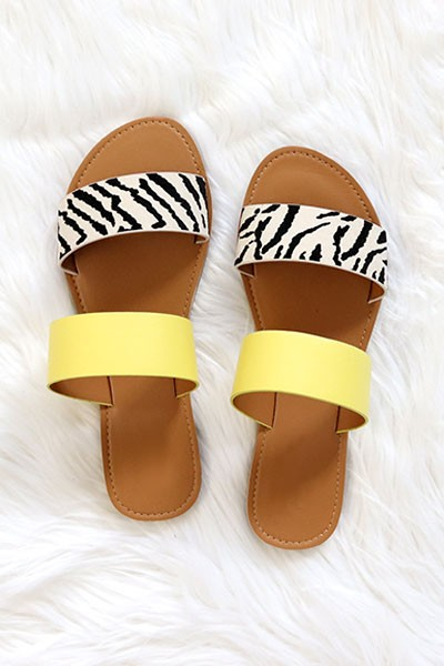 Striped Mixed Two Strap Band Sandals-Yellow Zebra Print