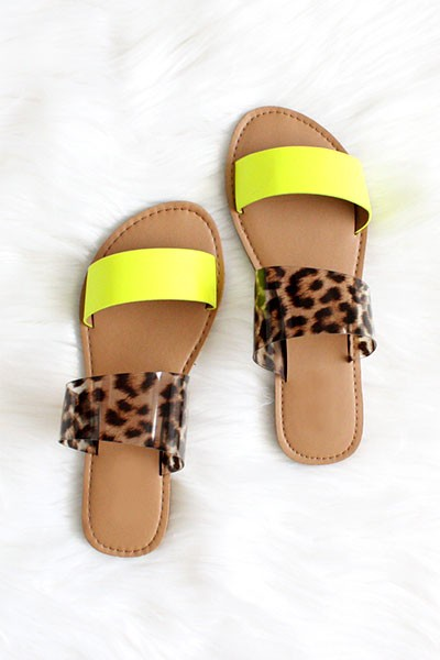 Clear Animal Print Mixed Two Strap Band Sandals-Neon Yellow and Leopard