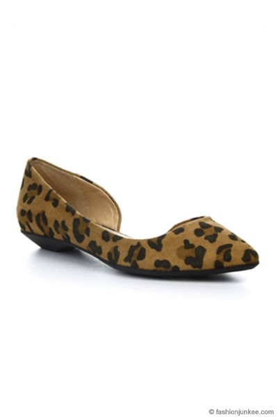 Pointy Toe D'Orsay Flats Shoes-Leopard Print
