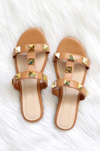 Strappy Studded Sandals-Tan Brown