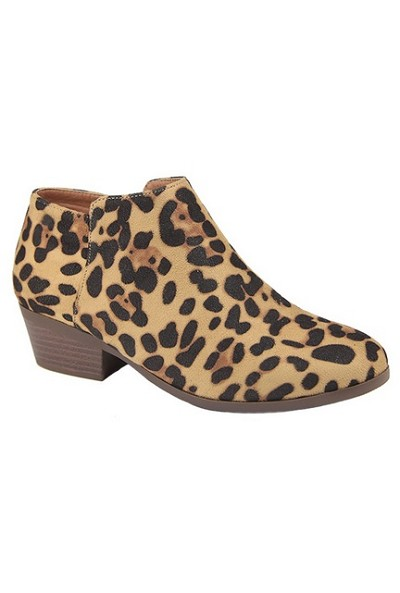 Basic Closed Toe Ankle Booties with Low Heel-Leopard Print