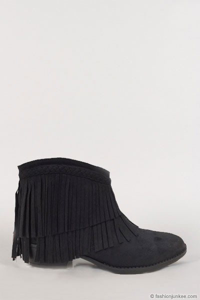 Boho Indie Braided Faux Suede Fringe Ankle Booties-Black