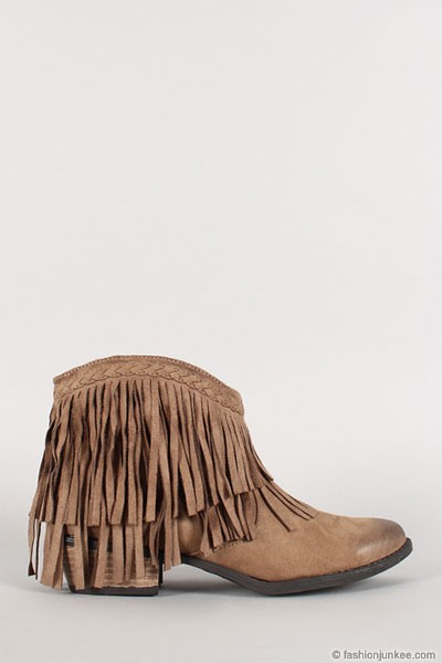 Boho Indie Braided Faux Suede Fringe Ankle Booties-Taupe