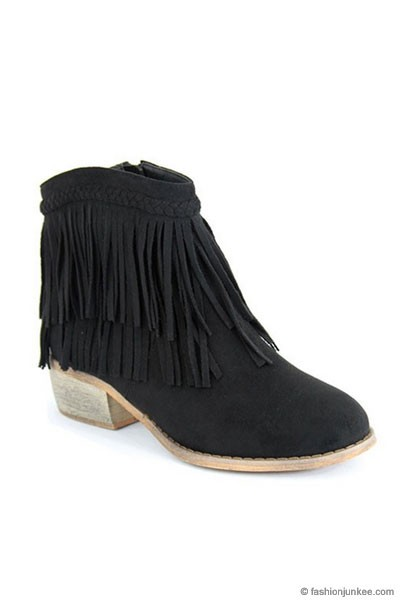 Braided Boho Indie Faux Suede Douoble Fringe Ankle Booties-Black