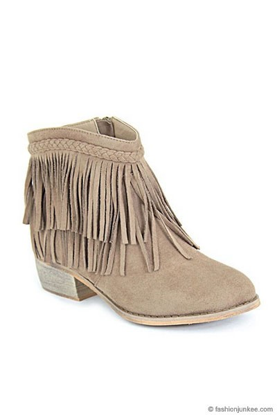 Braided Boho Indie Faux Suede Douoble Fringe Ankle Booties-Taupe Beige