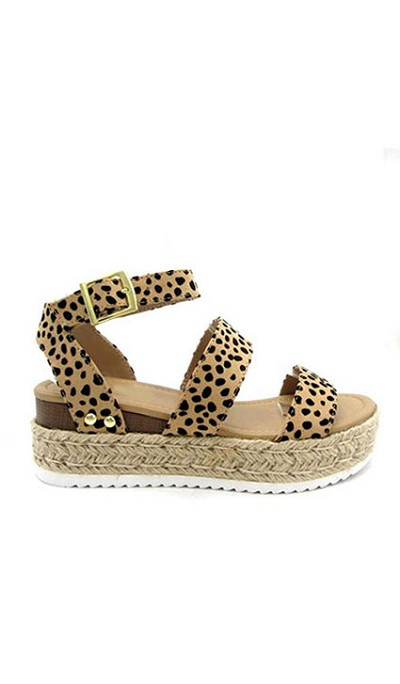 Two Strap Espadrille Platform Flat Sandals with Ankle Strap-Leopard Cheetah Print