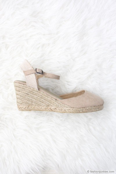 Faux Suede Ankle Espadrille Wedge Sandals-Taupe Beige