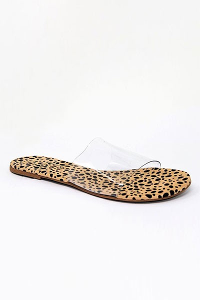 Single Band Clear Sandals Slides-Cheetah Leopard Print Sole