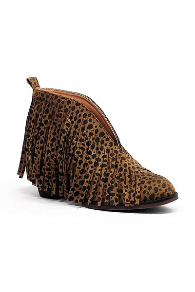 Boho V-Shaped Faux Suede Fringe Ankle Booties-Cheetah Leopard Print