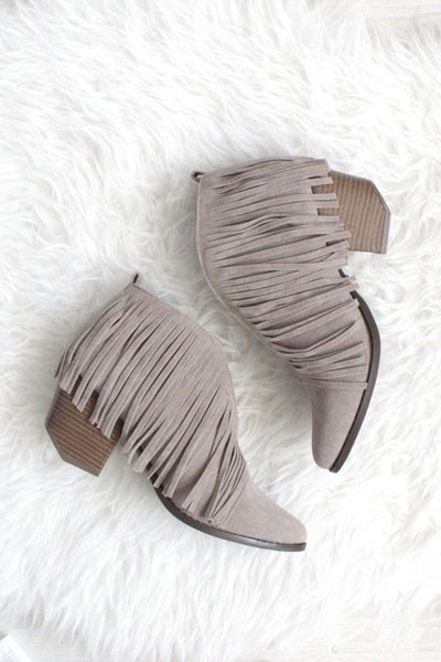 Boho V-Shaped Faux Suede Fringe Ankle Booties-Grey