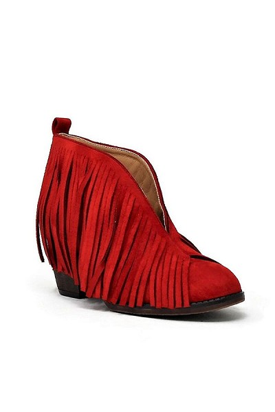 Boho V-Shaped Faux Suede Fringe Ankle Booties-Red