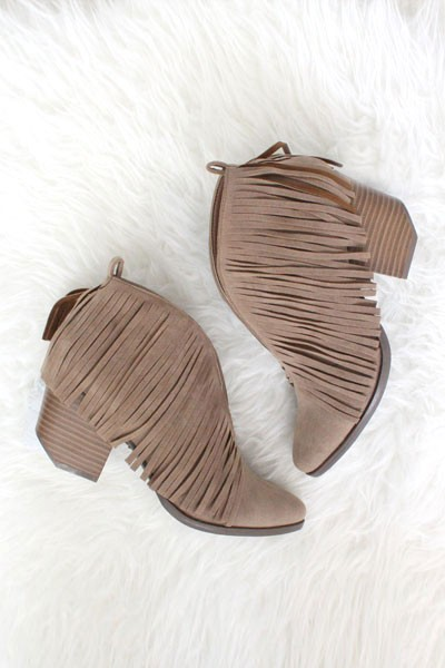 FLASH SALE: Boho V-Shaped Faux Suede Fringe Ankle Booties-Taupe