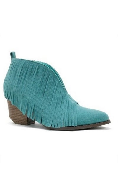 Boho V-Shaped Faux Suede Fringe Ankle Booties-Turquoise