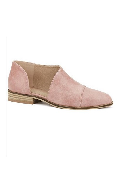 Closed Toe Faux Leather Side Cutout Flats-Blush Pink