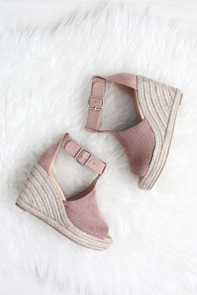 169d650c19 Faux Suede Open Peep Toe Ankle Strap Wedge Espadrille Sandals-Blush Pink