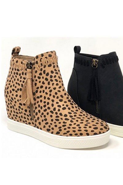 Stitch High Top Hidden Wedge Sneakers with Tassel Zippers-Cheetah Leopard Print