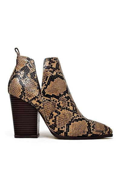 Closed Toe Side Cutout Block Heel Ankle Booties-Natural Python Snake Print