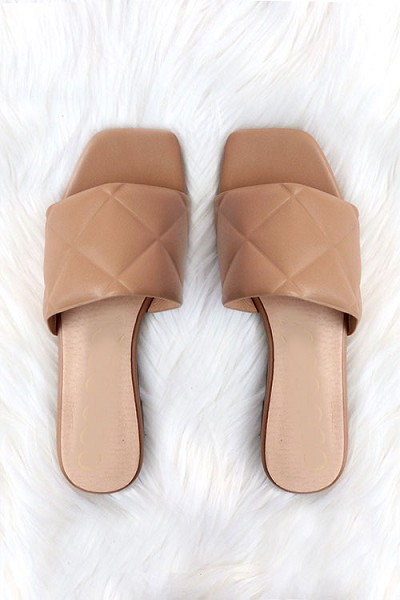 Quilted Sandal Slides-Taupe Brown