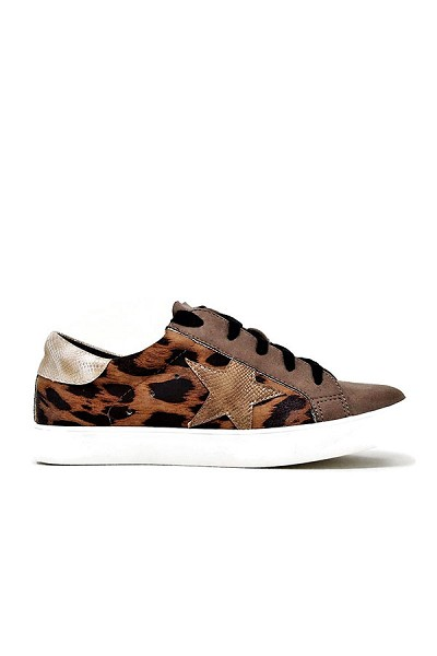 Lace Up Low Top Star Sneakers-Brown Leopard Print